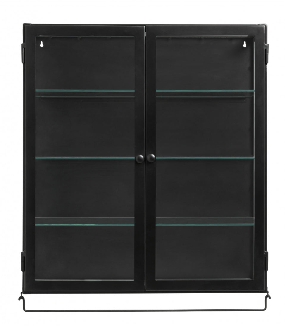 Siri Wall Cabinet , 1 Door ,Black - SAK Home