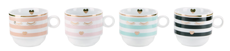 Miss Etoile Stripes and Gold Eyes Mugs - Set of 4