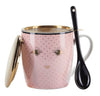 Miss Etoile Pink Eyes Polka Dot Mug ,Spoon & Strainer Set