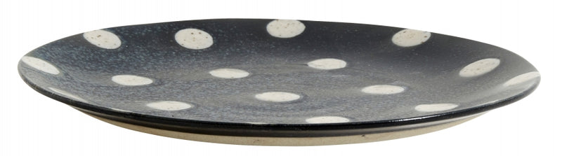 Grainy Plate - Dark Blue with Dots