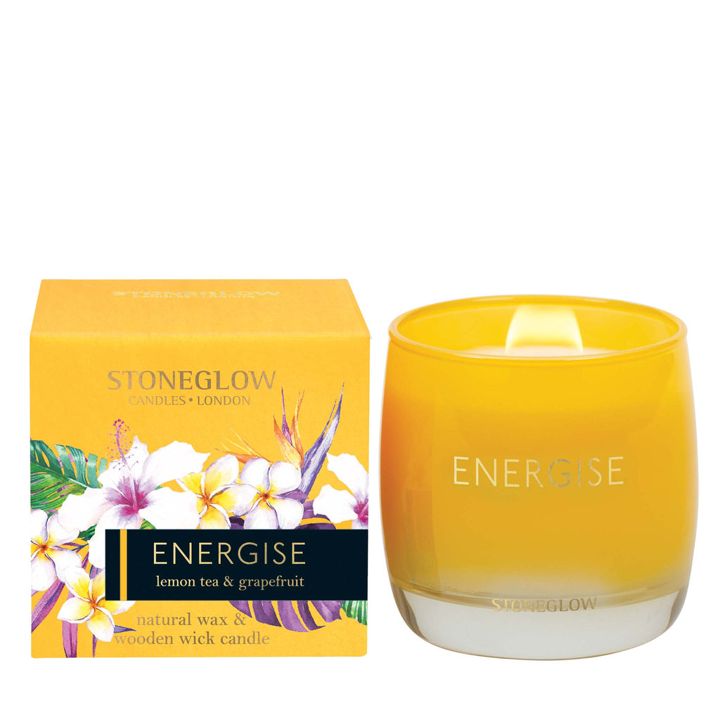 Stoneglow Infusion - Lemon Tea & Grapefruit Candle (Yellow) - Energise