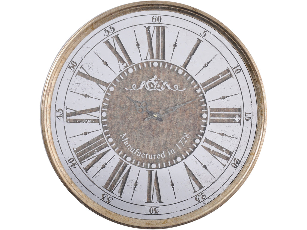 Vienna Antique Gold Round Mirrored Wall Clock - SAK Home
