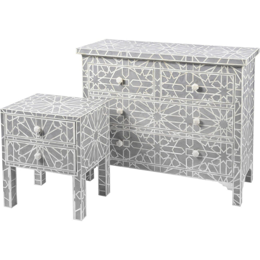 Floreat Mottled Blue Grey Bone Inlaid 4 Drawer Chest - SAK Home