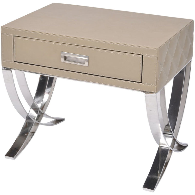 Ecclestone Leather One Drawer Side Table - SAK Home