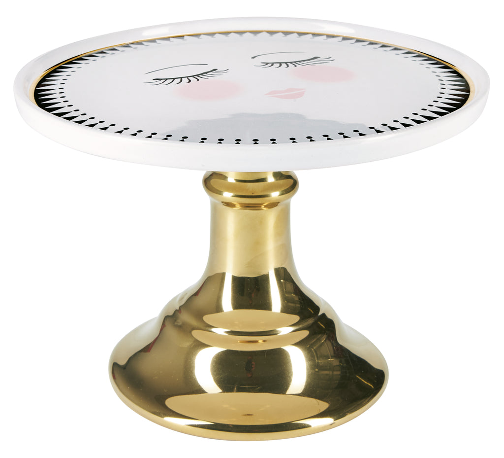 Miss Etoile Closed Eyes Cake Stand with Gold Foot - Large