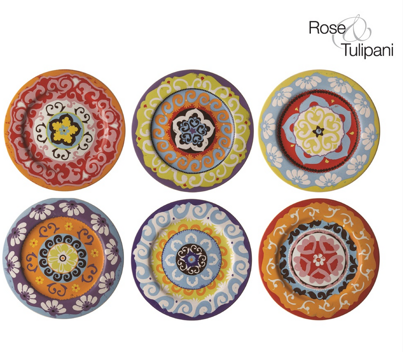 Rose & Tulipani - Nador 6 Rim Plates 16.5 cm - Set of 6
