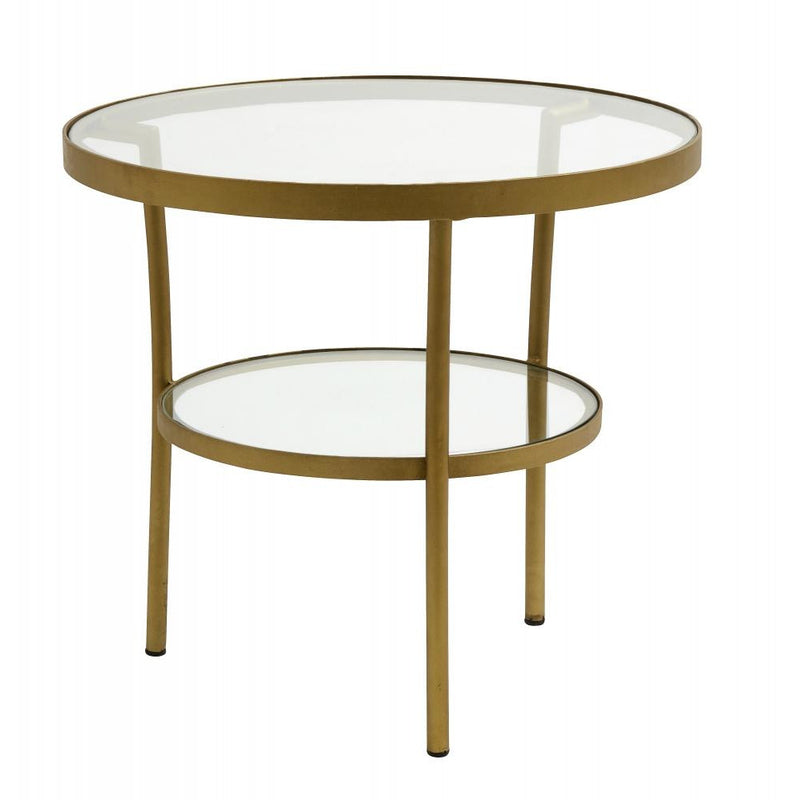 Coffee Table Round Glass/brass Finish - SAK Home