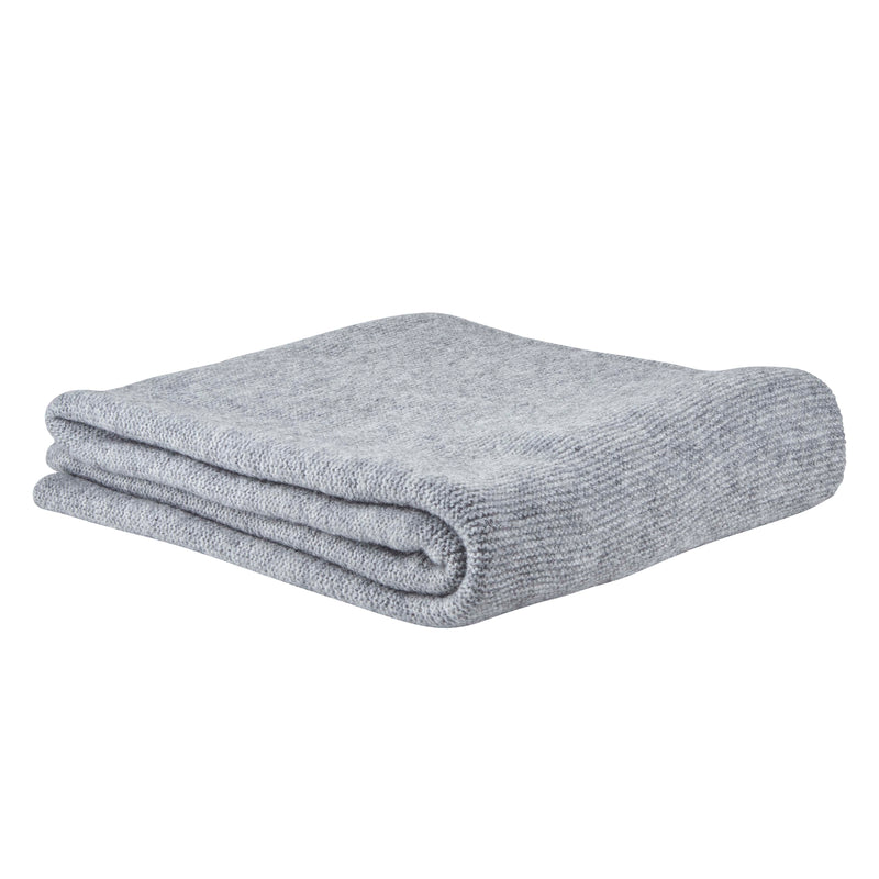 Grey Wool Knit Throw