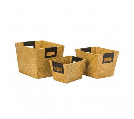 Natural Pandanus Storage Baskets with Integrated Handles - Set of 3