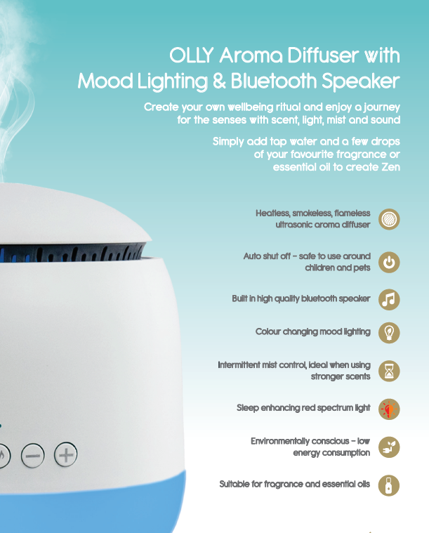 Olly White Diffuser - Perfect Inner balance and aids restful sleep