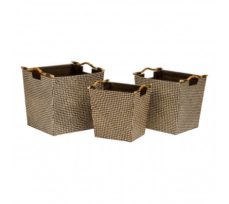 Black Pandanus Storage Baskets with Bamboo Handles - Set of 3