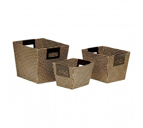Pandanus Storage Baskets with Integrated Handles - Set of 3