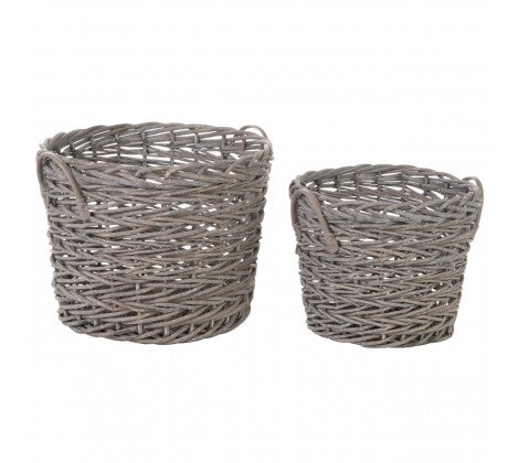 Round Grey Willow Baskets - Set of 2