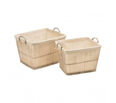 White Rustic Bamboo Storage Baskets - Set of 2