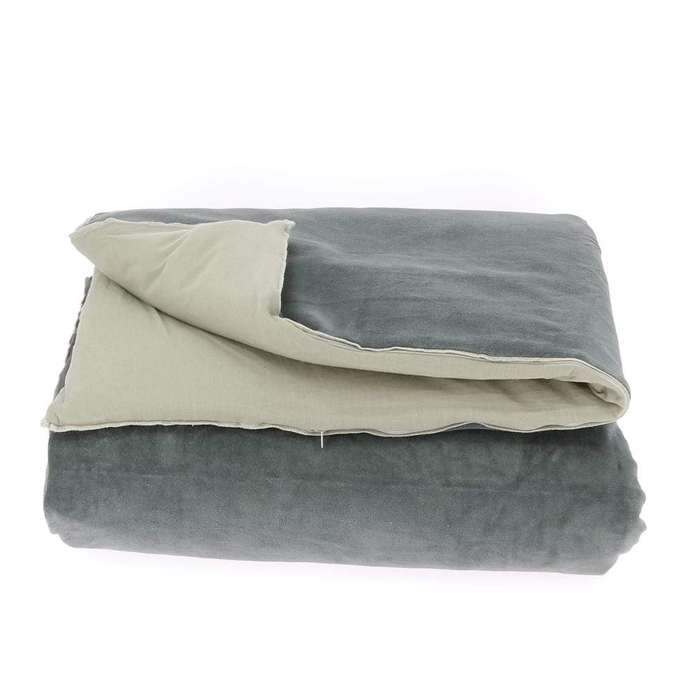 Velvet Cotton Bedspread - Anthracite - SAK Home