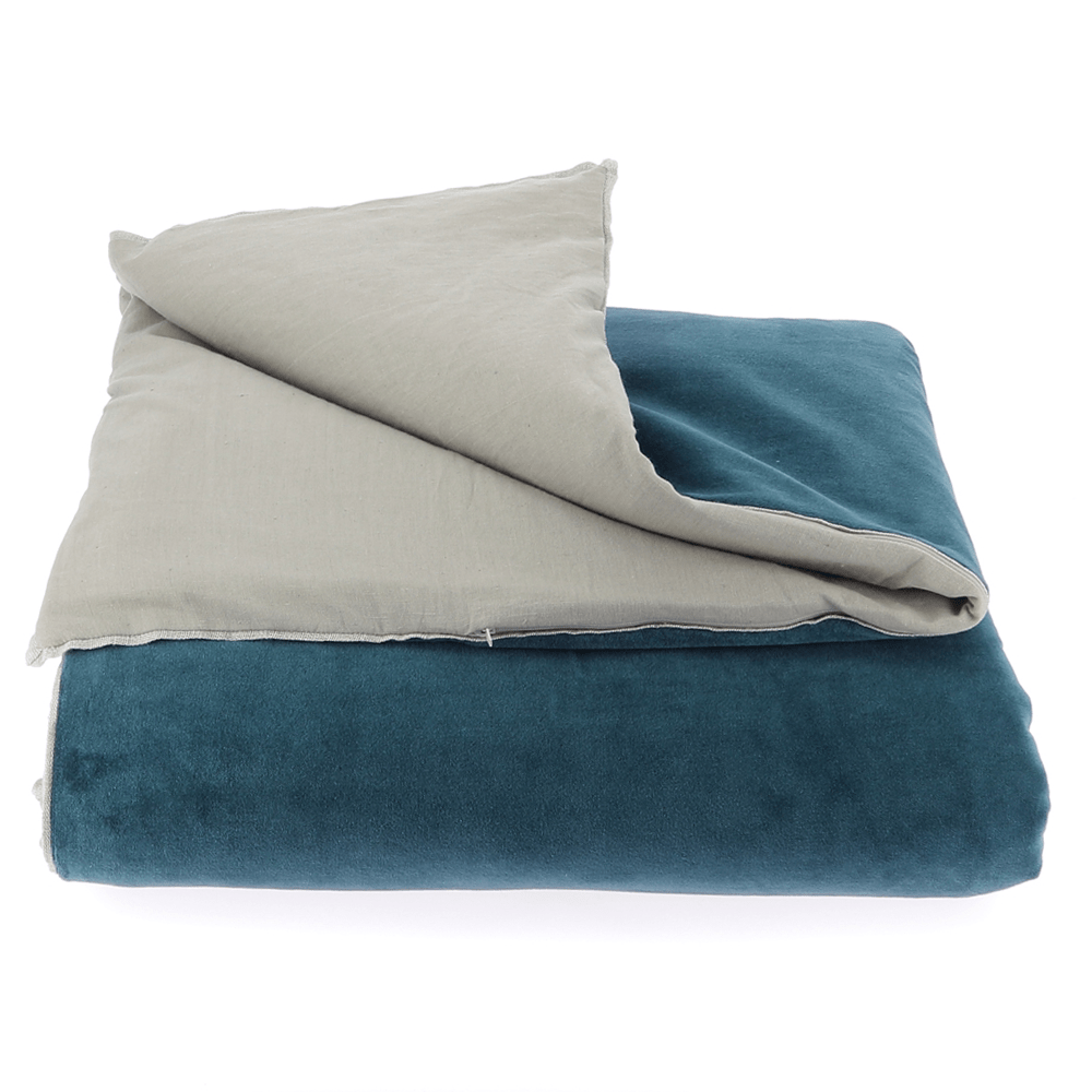 Velvet Cotton Bedspread - Bleu - SAK Home