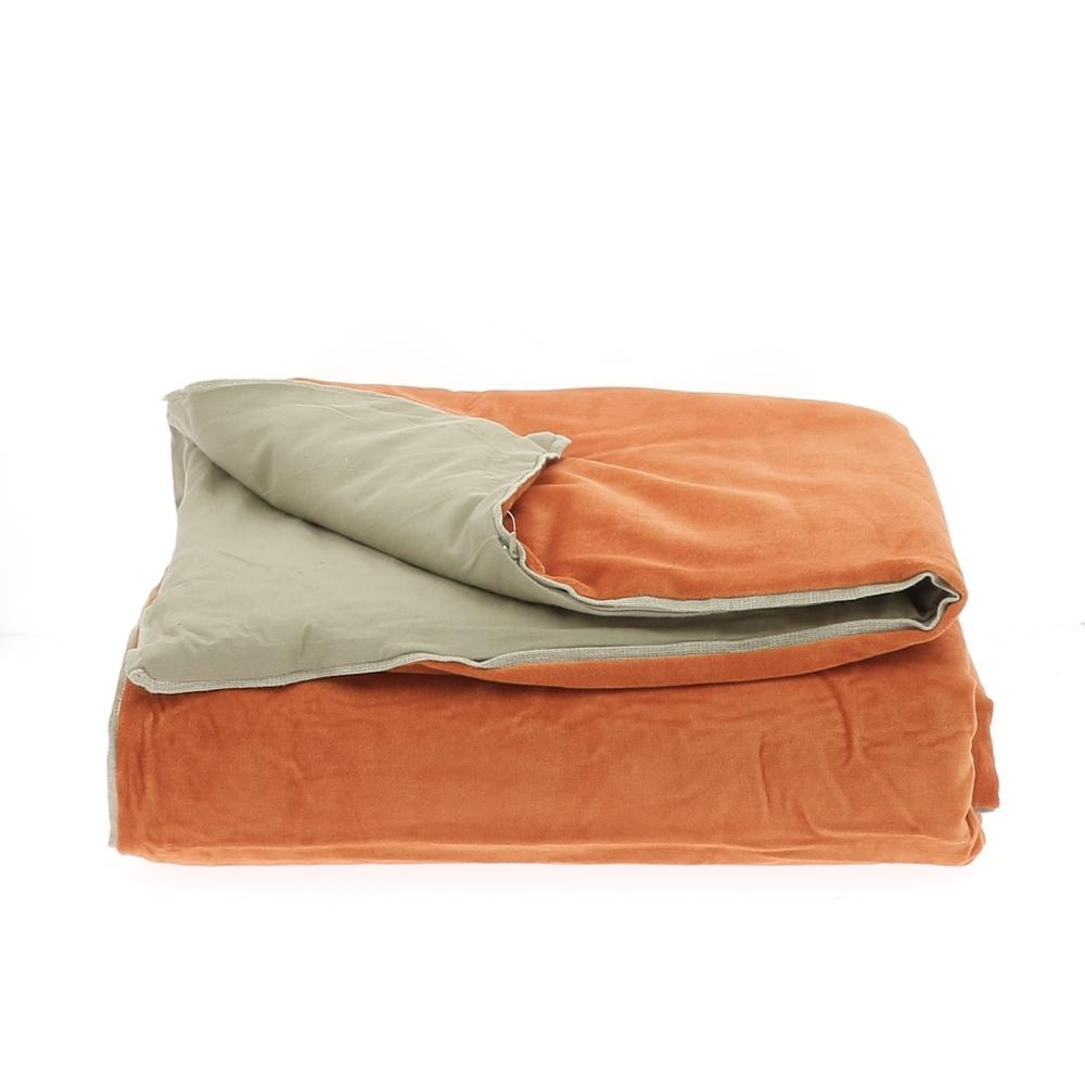 Velvet Cotton Bedspread - Orange - SAK Home