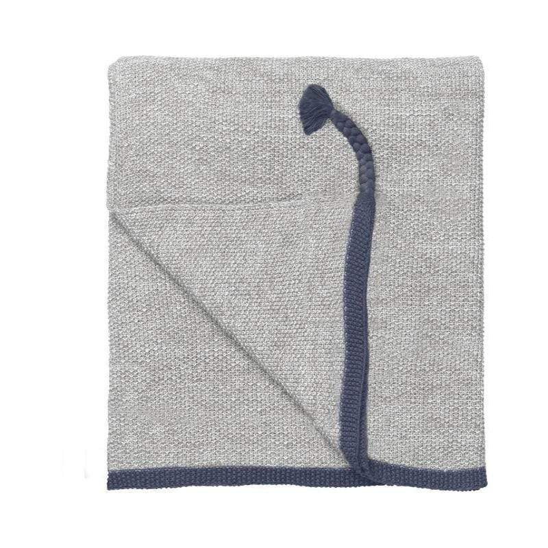 Astrid reverse knitted Throw - DUSTY BLUE - SAK Home