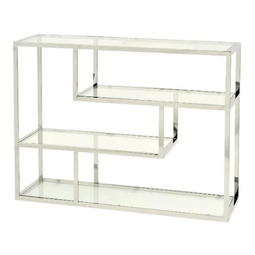 Linton Stainless Steel And Glass Small Modular Shelving Unit - SAK Home