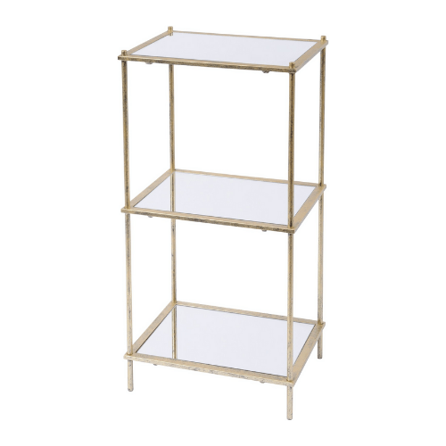 Mylas Three Tier Shelving Unit With Mirrored Panels - SAK Home