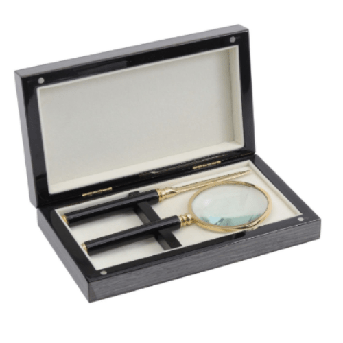 Lismore Grey Gloss Magnifying Glass & Knife Box - SAK Home