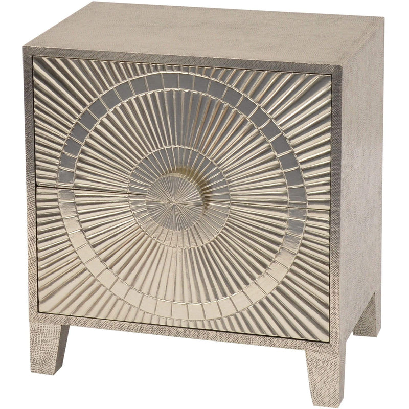 Coco Silver Embossed Metal 2 Drawer Bedside Table - SAK Home