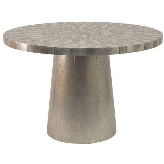 Coco Silver Embossed Metal 4 Seater Round Dining Table - SAK Home
