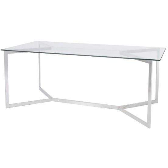 Linton Stainless Steel And Glass Dining Table - SAK Home