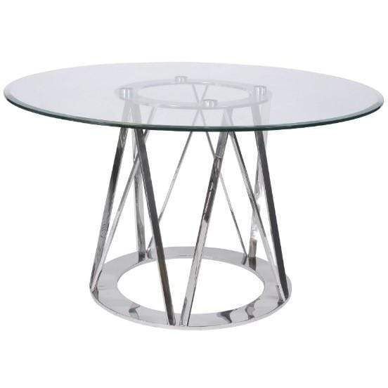 Linton Stainless Steel & Glass 4 Seater Round Dining Table - SAK Home