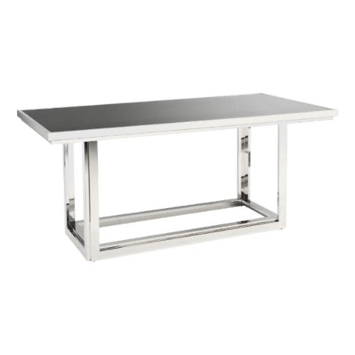 Rectangular Stainless Steel Smoked Glass Dining Table - SAK Home