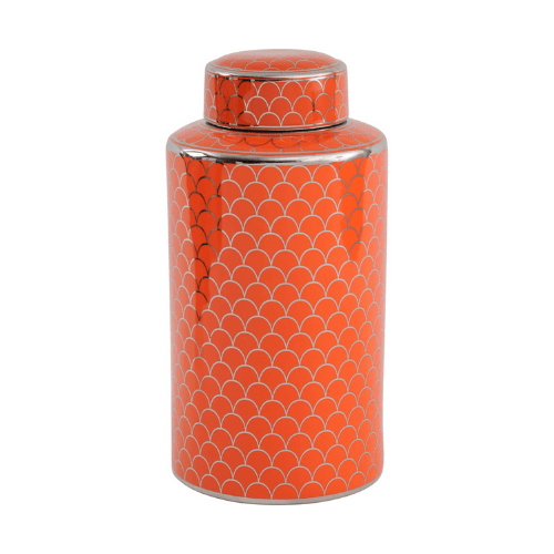 Orange Ceramic Lidded Jar With Silver Detail - SAK Home