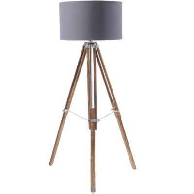 Rowley Natural Wood Tripod With Grey Drum Shade E27 40W - SAK Home
