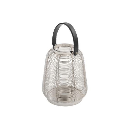 Polished Silver Small Stainless Steel Wire Lantern - SAK Home