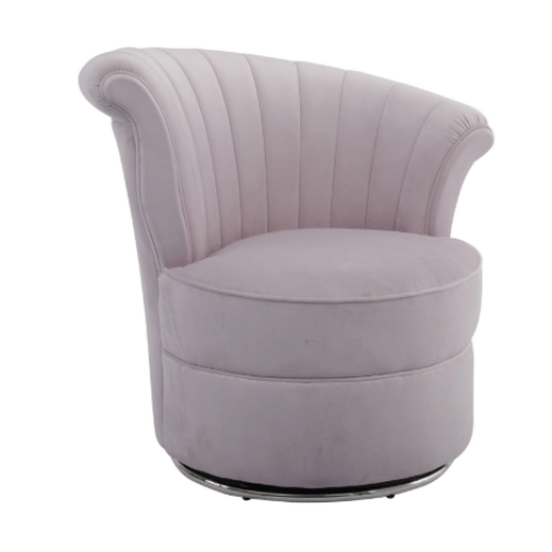 Savoy Curved Pink Velvet Occasional Swivel Chair - SAK Home