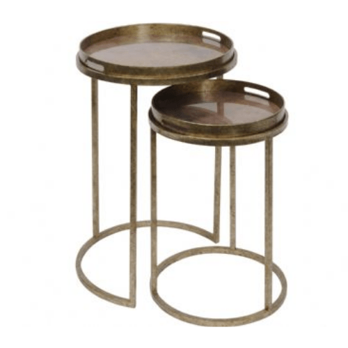 Vienna Antique Gold Atlas Set Of 2 Side Tables - SAK Home