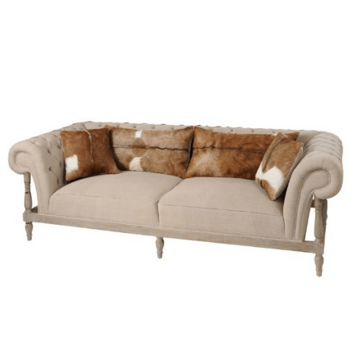 Homestead Mindi Wood Three Seater Sofa With Goat Skin Cushions - SAK Home