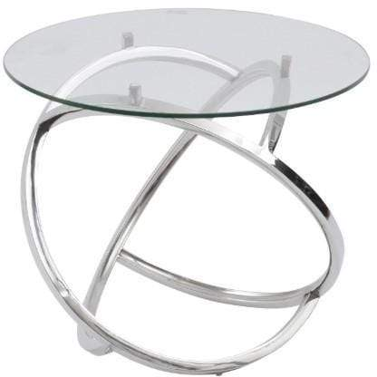 Curl Silver Side Table With Clear Glass Top - SAK Home