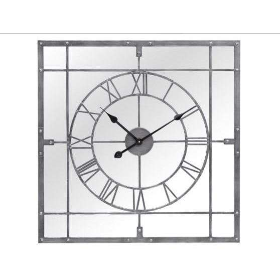 Grey Framed Mirrored Square Wall Clock - SAK Home