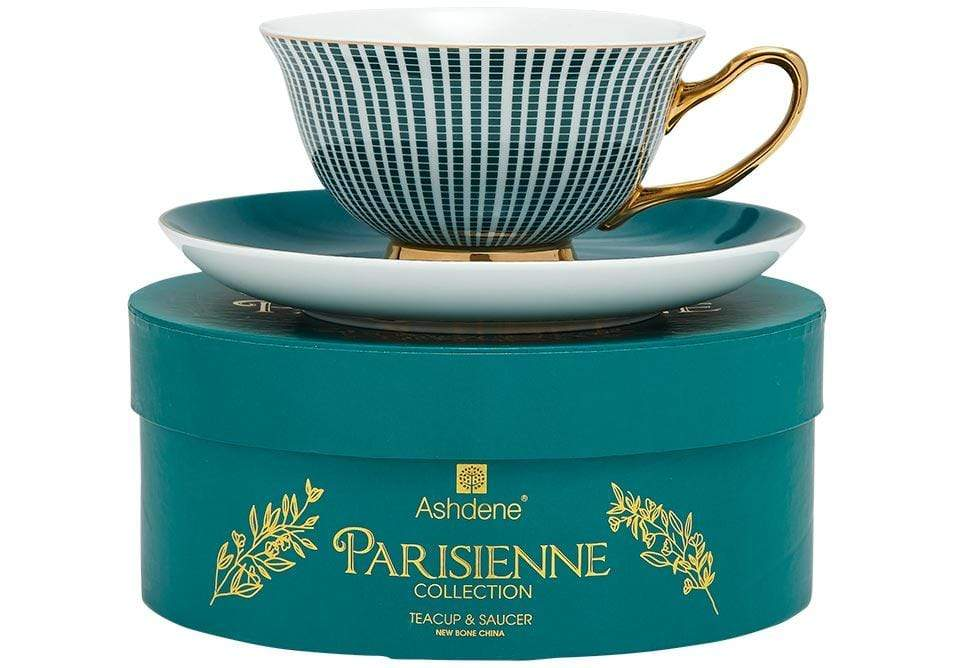 Parisienne Collection Cup & Saucer in Midnight Green - SAK Home