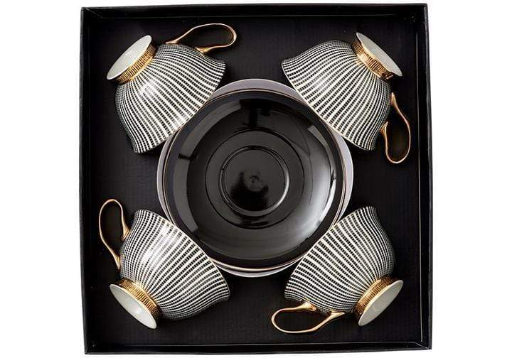 Set of 4 Parisienne Collection Cup & Saucer in Black - SAK Home