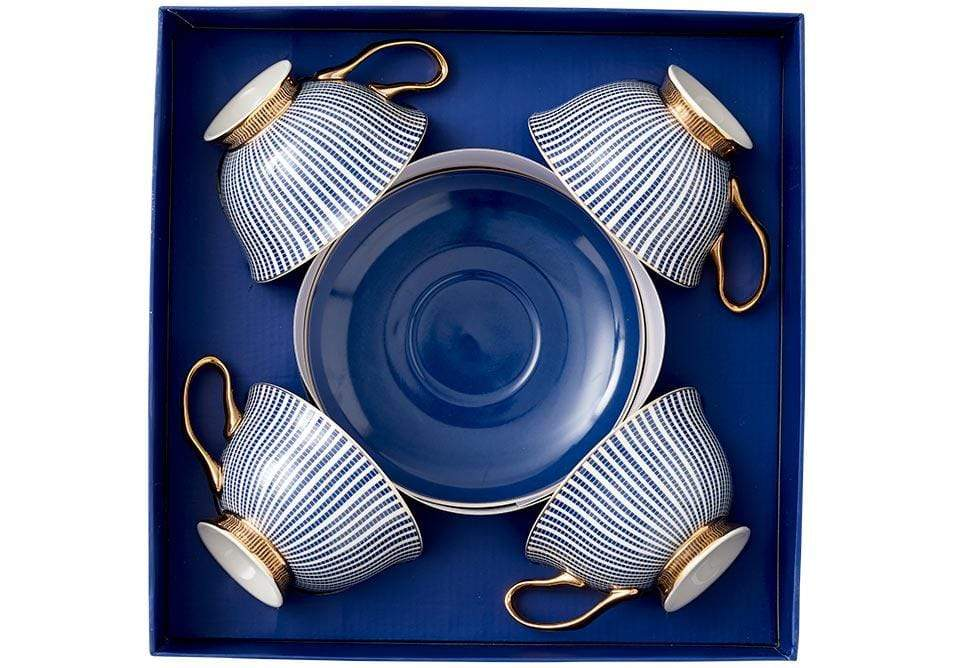 Set of 4 Parisienne Collection Cup & Saucer in Navy - SAK Home
