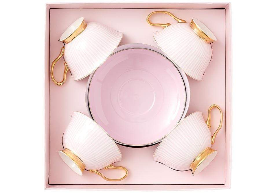 Set of 4 Parisienne Collection Cup & Saucer in Pink - SAK Home