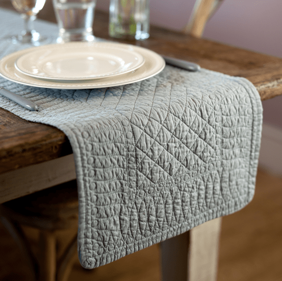 Mary Berry Signature Cotton Table Runner in Grey - SAK Home