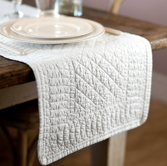 Mary Berry Signature Cotton Table Runner in Ivory - SAK Home