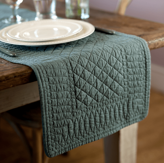 Mary Berry Signature Cotton Table Runner in Sea Green - SAK Home