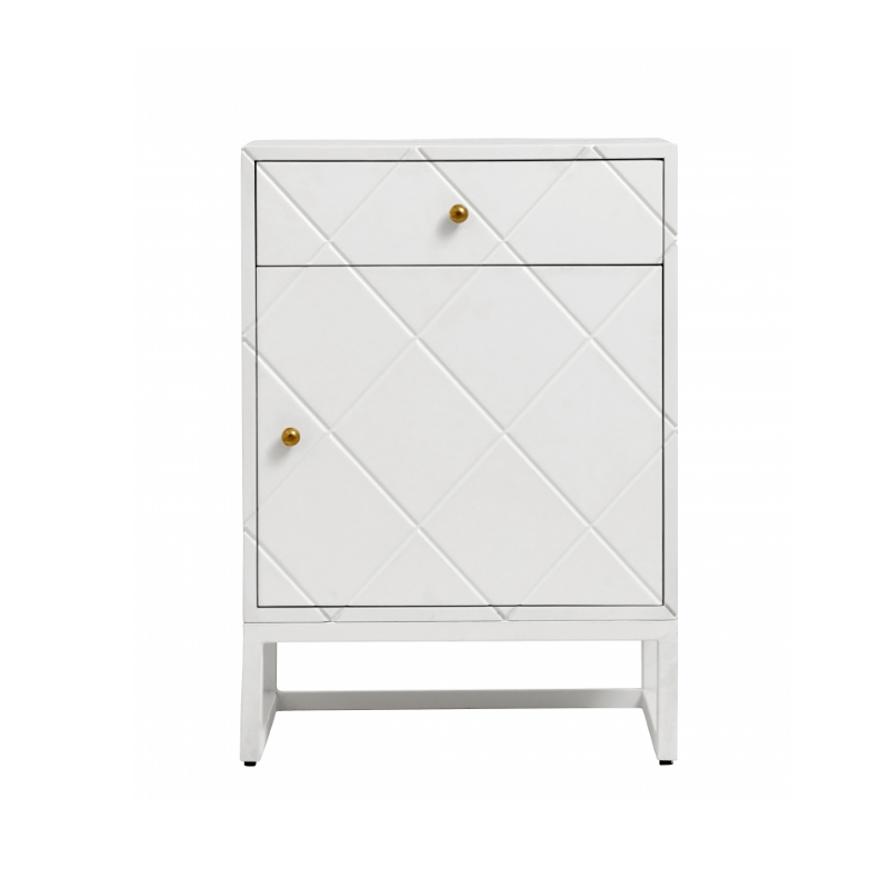 White Square Small Bedside Table - SAK Home