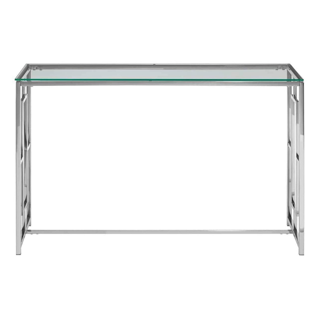 Alisa Clear Glass Silver Base Console Table - SAK Home