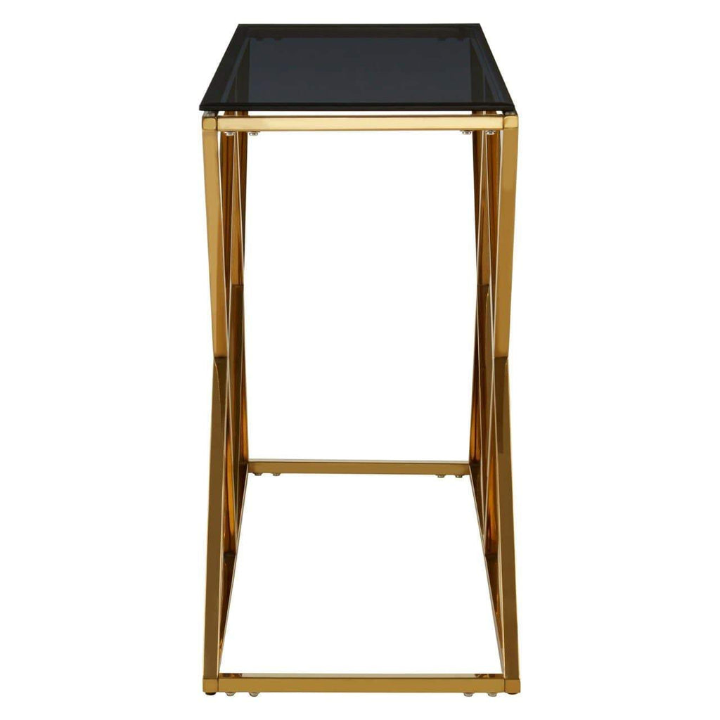 Alisa Gold Finish Console Table - SAK Home