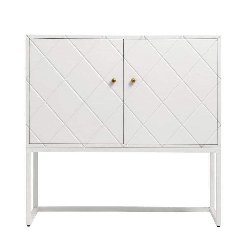 Buffet White Squares 2 Sections Wood - SAK Home