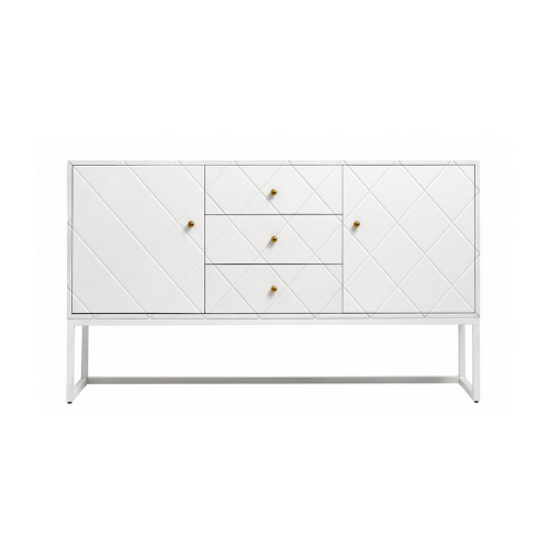 Buffet White Squares 3 Sections Wood - SAK Home